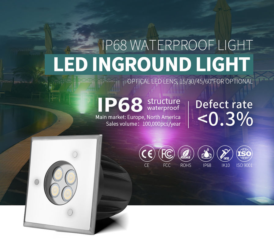 Tempered Glass Lawn Plaza Underground LED Lights SMD3030 SS316L